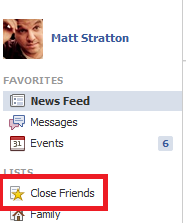 Facebook Close Friends Button